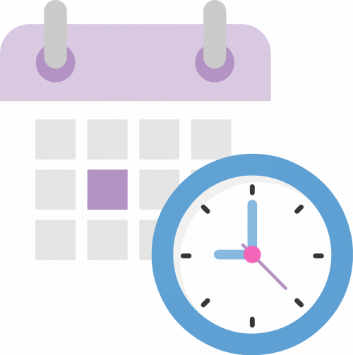 Purple calendar with blue clock counting down